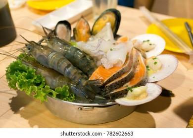 Sea food on the table.