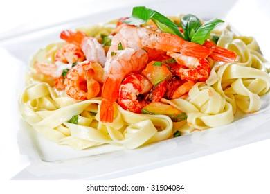 sea food pasta with creamy sauce
