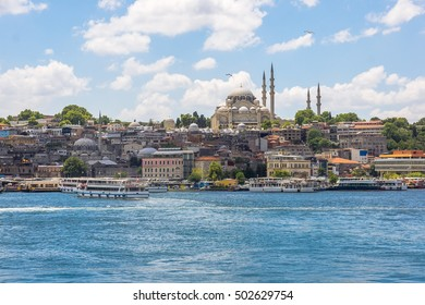 Sea front landscape of Istanbul historical part, Turkey famous city. Tourist Istanbul city landscape. Istanbul landscape, Turkey. Sea view of Istanbul. Outdoor city landscape, Turkey travel concept