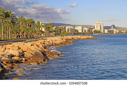sea front promenade in the city Limassol, Cyprus