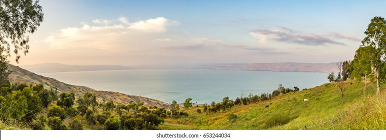 Sea of Galilee (Kinneret). Lake in the Galilee mountains in north of Israel.