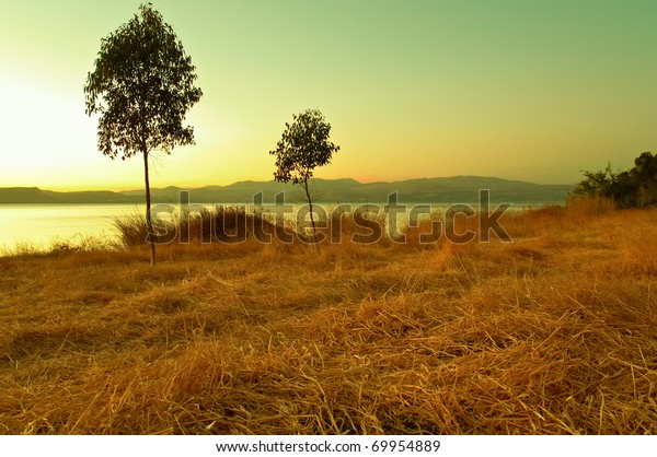 Sea of Galilee .Landscape Of North Galilee In Early winter,Sunset. Israel.