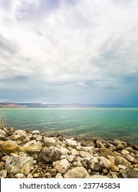 the Sea of Galilee landscape on a summer day