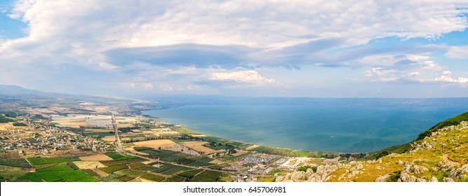 Sea of Galilee. Panoramic landscape from mount Arbel. North of Israel.
