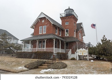The Sea Girt Lighthouse in Sea Girt, New Jersey, USA. This lighthouse flashed its first light December 10, 1896.