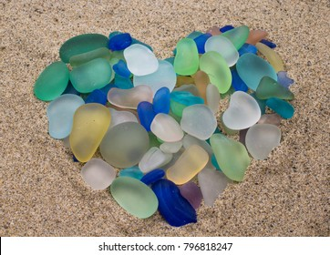Sea Glass arranged in the shape of a Heart