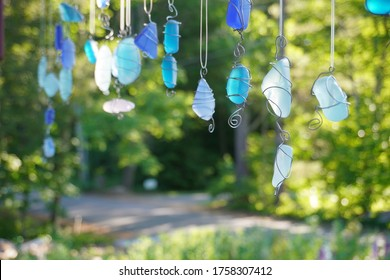 Sea glass mobile on front porch