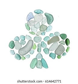 sea glass mosaic - clubs card suit symbol isolated on white