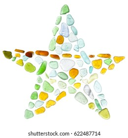 sea glass mosaic - five-pointed star on glass background