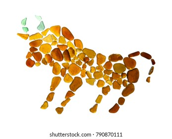 sea glass ox pictogram, backlit pieces of sea glass on white