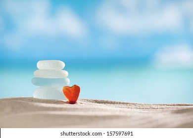 sea glass seaglass with ocean , beach and seascape, shallow dof
