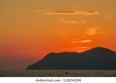 Sea and golden sky in sun set time