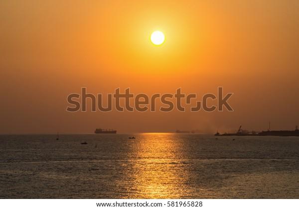Sea golden sunset horizon