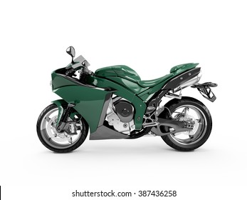 Sea Green motorcycle isolated on a white background.