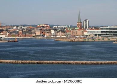 Sea gulf and city. Aarhus, Jutland, Denmark