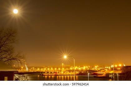 Sea harbor at night lights
