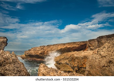 The sea hitting the rocks on the North side of Curacao.