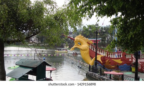 the sea horse pirate ship at little venice docking in the pier. photo taken in little venice , cipanas, indonesia at 03.00 oclock , 19 june 2019