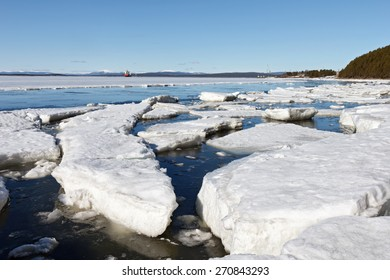 Sea ice is destroyed in the spring, White sea, Russia