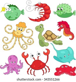 Sea inhabitants: octopus, pufferfish, starfish, sea-horse, crab, stingray, shrimp and turtle. illustration about underwater world