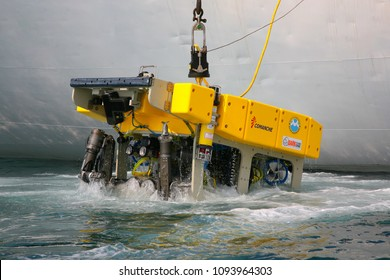 Sea of Japan / Russia - April 2010: Remotely operated underwater vehicle (ROV) lifting after the working in abyss