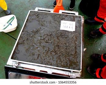 The Sea of Japan / Russia - November 30 2013: Box core sampler got a good piece of the sea bottom mud