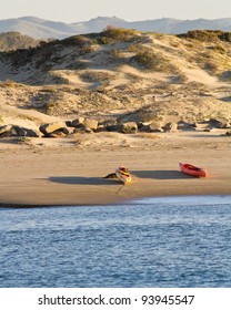 Sea kayak beach near the dune of Morro Bay