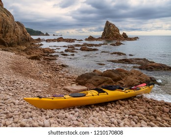 Sea kayak on the sea coast.