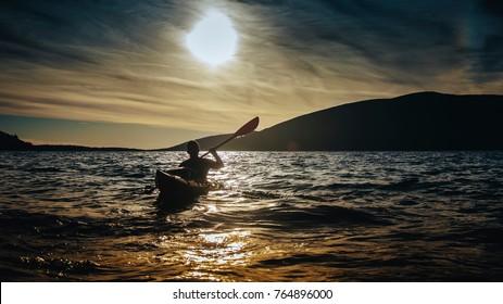 Sea kayaking at Mediterranean