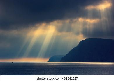 Sea landscape with bad weather and the cloudy sky. Crimea, Ukraine.