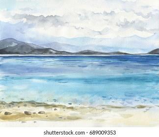Sea landscape. Beautiful watercolor hand painting illustration.