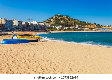 Sea landscape in Blanes, Catalonia, Spain near of Barcelona. Scenic town with nice sand beach and clear blue water in beautiful bay. Famous tourist resort destination in Costa Brava