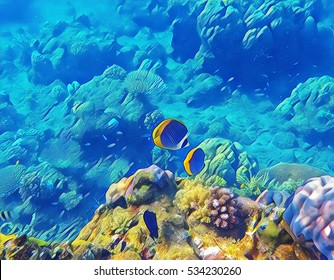 Sea landscape with Butterfly tropical fish and yellow coral. Undersea view digital illustration. Coral reef animals in wild nature. Colorful snorkeling image for banner template or aquarium wallpaper