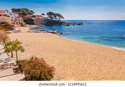 Sea landscape with Calella de Palafrugell, Catalonia, Spain near of Barcelona. Scenis fisherman village with nice sand beach and clear blue water in nice bay. Famous tourist destination in Costa Brava