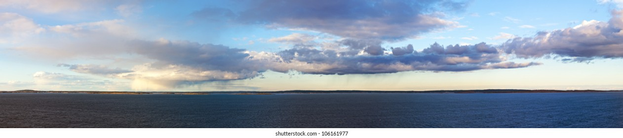 sea landscape with clouds, the Baltic Sea, coast of Norway