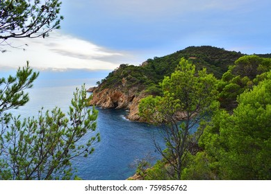 sea landscape of Costa Brava, beautiful coastal region overlooking the Mediterranean Sea in Catalonia, Spain
