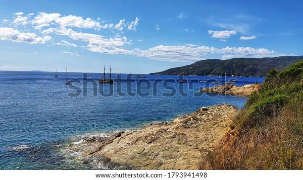 Sea landscape from Elba Island, Tuscany.