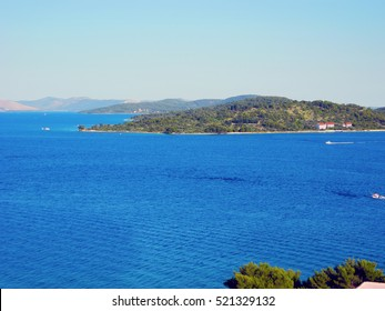 Sea landscape of island Prvic near town of Vodice at the Adriatic coast.