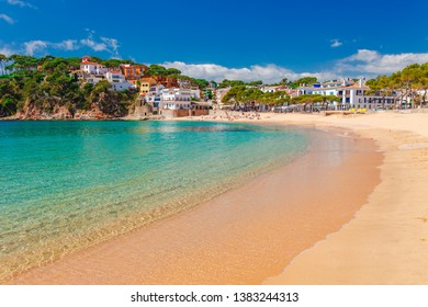Sea landscape Llafranc near Calella de Palafrugell, Catalonia, Barcelona, Spain. Scenic old town with nice sand beach and clear blue water in bay. Famous tourist destination in Costa Brava