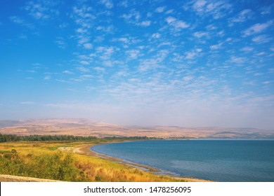 Sea landscape on Northern Israel. Panoramic view of Tiberias in Galilee from car. The Sea of Galilee, Lake of Gennesaret, Israel