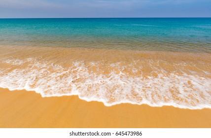 Sea landscape the sandy beach on the tropical island, the sky is pure