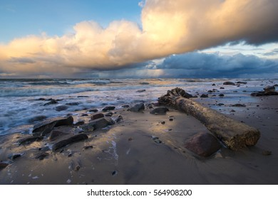 sea landscape, stormy evening at the seaside