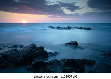 Sea landscape sunset