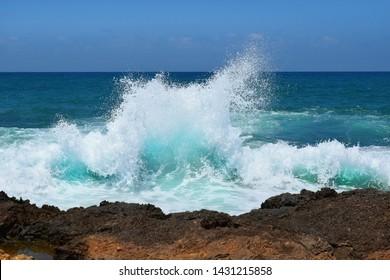 sea landscape, sea waves crashing against the rocks, Tantura nature reserve, northern Israel