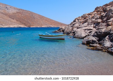Sea level photo of clear water beach in island of Astypalaia, Dodecanese, Greece