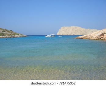 Sea level photo from iconic beach of Kounoupa islet with turquoise clear waters near famous island of Astypalaia, Dodecanese, Greece