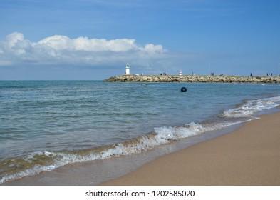A sea lighthouse in the Black Sea , Agva in Turkey