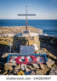 sea lion island, falkland islands - CIRCA Nov 2017: memorial to those lost on HMS Sheffield during the Falklands War