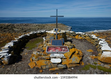 Sea Lion Island, Falkland Islands - October 23, 2019: Memorial to HMS Sheffield, a Type 42 destroyer, which sank off the coast of Sealion Island during the Falklands War in 1982.