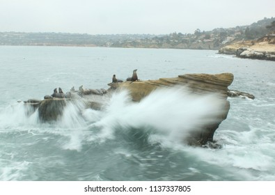 Sea Lion Rock in Rough Waters